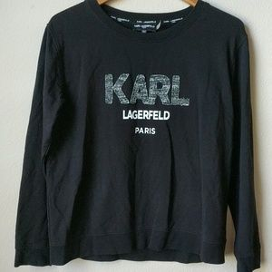 Karl Lagerfeld Black Sweatshirt, Medium